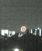 アパートの屋上で花火見てます